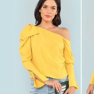 One Shoulder Yellow Bow Blouse